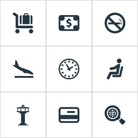 Set Of 9 Simple Airport Icons. Can Be Found Such Elements As Global Research, Seat, Alighting Plane And Other.