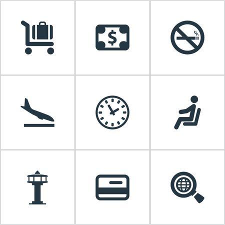 9 간단한 공항 아이콘의 집합입니다. 글로벌 연구, 좌석, 비행기 및 기타 등의 요소를 찾을 수 있습니다.