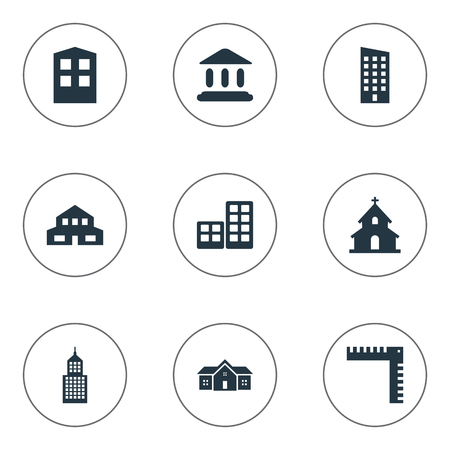 Set Of 9 Simple Architecture Icons. Can Be Found Such Elements As Residential, Booth, Length And Other. Illustration