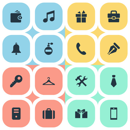 Set Of 16 Simple  Icons. Can Be Found Such Elements As Gift, Password, Hanger And Other. Illustration