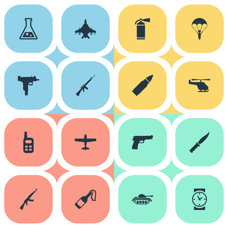 Set Of 16 Simple Battle Icons. Can Be Found Such Elements As Sky Force, Helicopter, Air Bomber And Other. Illustration