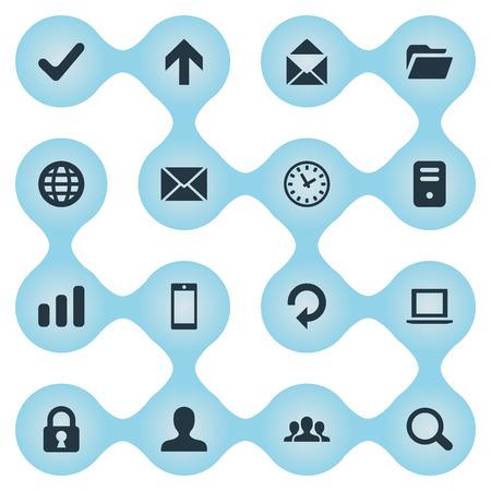 16 간단한 응용 프로그램 아이콘의 집합입니다. 컴퓨터 케이스, 시계, 확인 및 기타와 같은 요소를 찾을 수 있습니다.