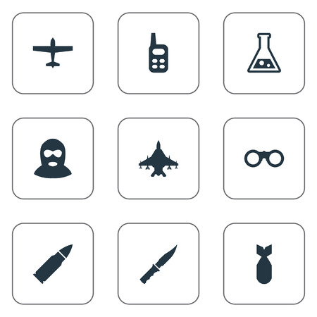 nuke: Set Of 9 Simple Terror Icons. Can Be Found Such Elements As Ammunition, Terrorist, Nuke And Other.