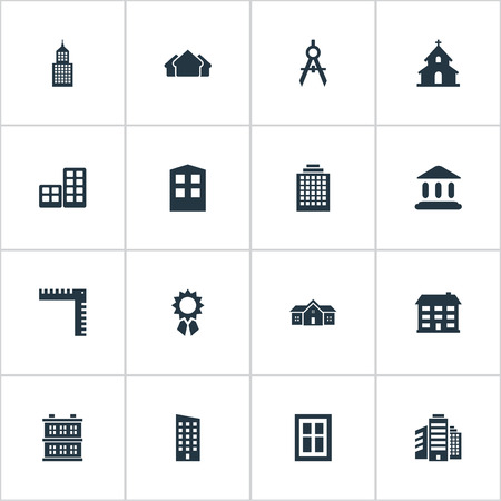 edifice: Set Of 16 Simple Structure Icons. Can Be Found Such Elements As Shelter, Flat, Engineer Tool And Other. Illustration