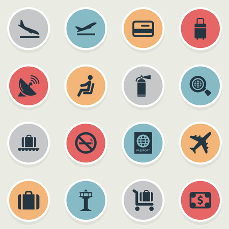 Set Of 16 Simple Plane Icons. Can Be Found Such Elements As Credit Card, Certificate Of Citizenship, Antenna And Other. Illustration