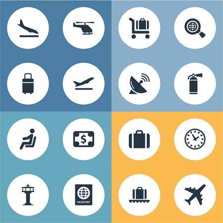 16 간단한 평면 아이콘 집합입니다. Alighting Plane, Takeoff, Handbag와 같은 요소를 찾을 수 있습니다.