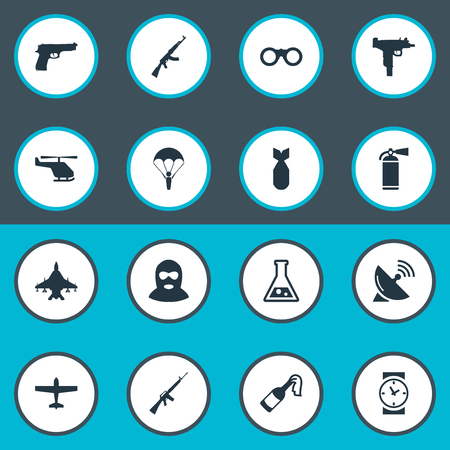 Set Of 16 Simple Battle Icons. Can Be Found Such Elements As Molotov, Watch, Pistol And Other.