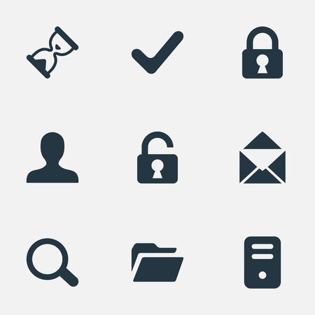 9 간단한 연습 아이콘의 집합입니다. 돋보기, 사용자, 모래 타이머 같은 요소를 찾을 수 있습니다.