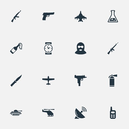 Set Of 16 Simple War Icons. Can Be Found Such Elements As Terrorist, Chemistry, Kalashnikov And Other.