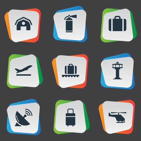 Set van 9 eenvoudige luchthaven pictogrammen. Elementen zoals reistas, antenne, bagage-carrousel en andere zijn te vinden. Stock Illustratie