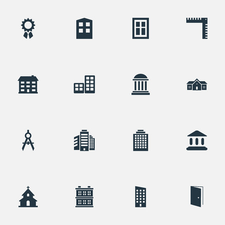 superstructure: Set Of 16 Simple Construction Icons. Can Be Found Such Elements As Glazing, Booth, Superstructure And Other.