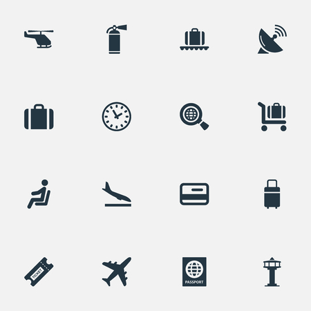 Set Of 16 Simple Travel Icons. Can Be Found Such Elements As Alighting Plane, Credit Card, Global Research And Other.