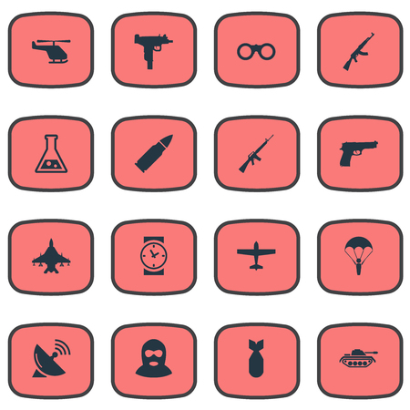 nuke: Set Of 16 Simple Battle Icons. Can Be Found Such Elements As Ammunition, Field Glasses, Nuke And Other. Illustration