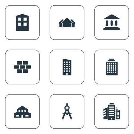 Set Of 9 Simple Construction Icons. Can Be Found Such Elements As Engineer Tool, Shelter, Construction And Other.