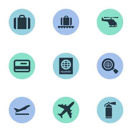 Set Of 9 Simple Travel Icons. Can Be Found Such Elements As Protection Tool, Global Research, Takeoff And Other. Illustration