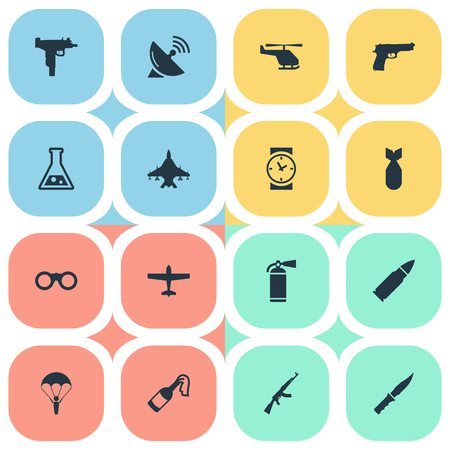 nuke: Set Of 16 Simple Battle Icons. Can Be Found Such Elements As Nuke, Helicopter, Ammunition And Other.