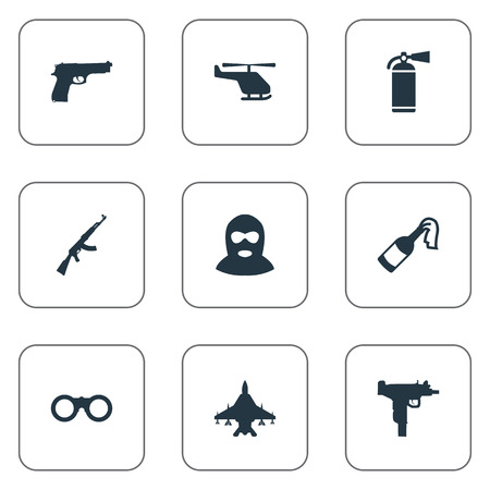 lanzamiento de bala: Set Of 9 Simple War Icons. Can Be Found Such Elements As Field Glasses, Helicopter, Molotov And Other. Vectores