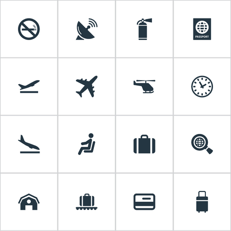 Set Of 16 Simple Travel Icons. Can Be Found Such Elements As Cigarette Forbidden, Alighting Plane, Travel Bag And Other. 일러스트