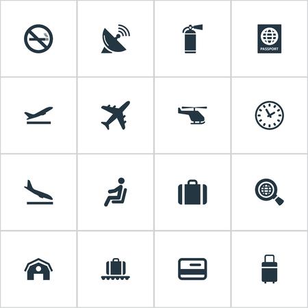 16 간단한 여행 아이콘의 집합입니다. 금지 된 담배, 비행기 추락, 여행 가방 및 기타와 같은 요소를 찾을 수 있습니다.