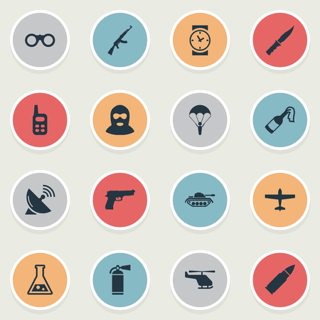 Set Of 16 Simple Battle Icons. Can Be Found Such Elements As Ammunition, Air Bomber, Watch And Other.