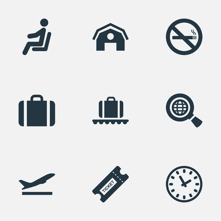 Set Of 9 Simple Airport Icons. Can Be Found Such Elements As Seat, Global Research, Cigarette Forbidden And Other. Illustration