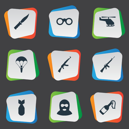 nuke: Set Of 9 Simple Military Icons. Can Be Found Such Elements As Helicopter, Nuke, Kalashnikov And Other.