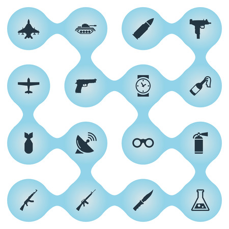 Set Of 16 Simple Army Icons. Can Be Found Such Elements As Air Bomber, Molotov, Ammunition And Other.