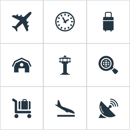 Set Of 9 Simple Airport Icons. Can Be Found Such Elements As Alighting Plane, Garage, Global Research And Other.