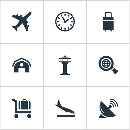 9 간단한 공항 아이콘의 집합입니다. Alighting Plane, Garage, Global Research 및 Other와 같은 요소를 찾을 수 있습니다.