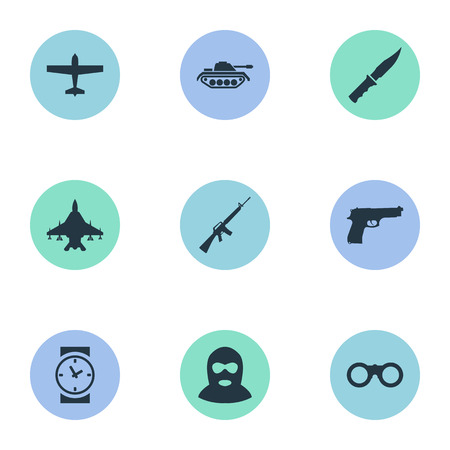 Set Of 9 Simple Military Icons. Can Be Found Such Elements As Pistol, Cold Weapon, Terrorist And Other.