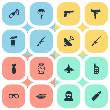Set Of 16 Simple Military Icons. Can Be Found Such Elements As Sky Force, Field Glasses, Heavy Weapon And Other.