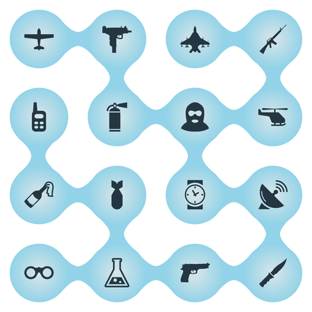 Set Of 16 Simple Battle Icons. Can Be Found Such Elements As Sky Force, Watch, Rifle Gun And Other. Illustration