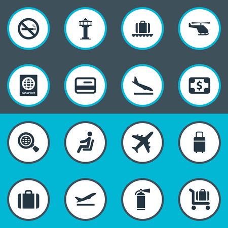 Set Of 16 Simple Transportation Icons. Can Be Found Such Elements As Handbag, Global Research, Air Transport.