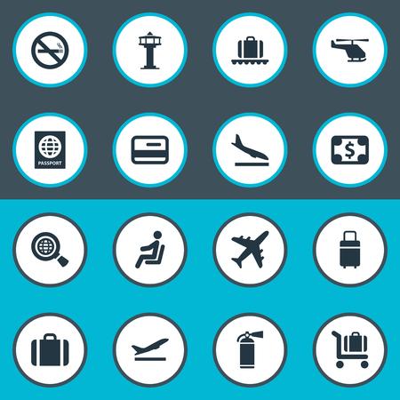 16 간단한 교통 아이콘의 집합입니다. 핸드백, 글로벌 리서치, 항공 운송과 같은 요소를 찾을 수 있습니다. 일러스트