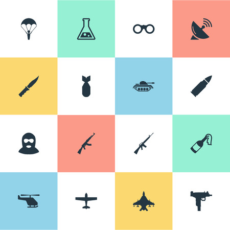 Set Of 16 Simple Army Icons. Can Be Found Such Elements As Helicopter, Field Glasses, Rifle Gun And Other.