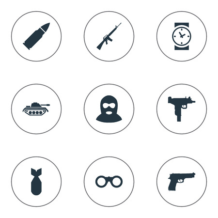 nuke: Set Of 9 Simple Battle Icons. Can Be Found Such Elements As Ammunition, Watch, Nuke And Other.