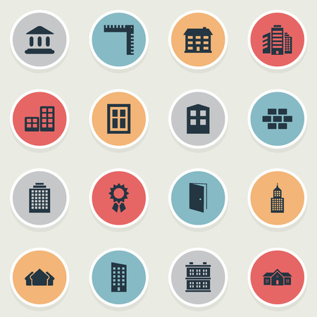Set Of 16 Simple Construction Icons. Can Be Found Such Elements As Booth, Offices, School And Other. Illustration