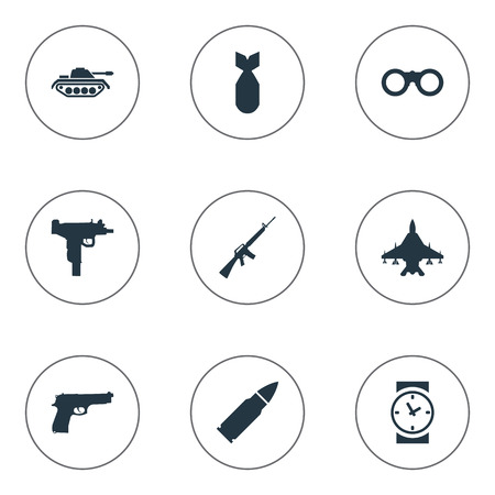 nuke: Set Of 9 Simple Army Icons. Can Be Found Such Elements As Rifle Gun, Sky Force, Nuke And Other. Illustration