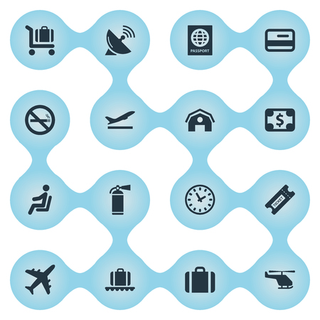 Set Of 16 Simple Plane Icons. Can Be Found Such Elements As Antenna, Air Transport, Watch And Other.