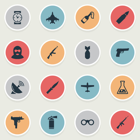 Set Of 16 Simple Terror Icons. Can Be Found Such Elements As Watch, Ammunition, Signal Receiver And Other.