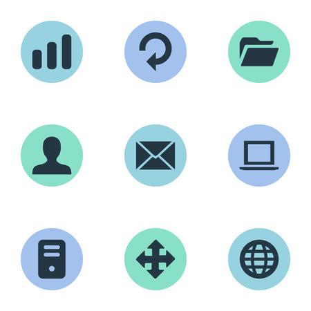 9 간단한 애플 리 케이 션 아이콘의 집합입니다. 새로 고침, 통계, 웹 및 기타와 같은 요소를 찾을 수 있습니다.