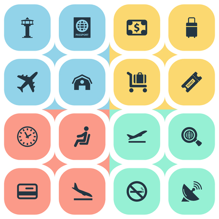 Set Of 16 Simple Transportation Icons. Can Be Found Such Elements As Seat, Watch, Plane And Other.