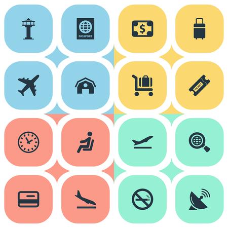16 간단한 교통 아이콘의 집합입니다. 좌석, 시계, 비행기 및 기타와 같은 요소를 찾을 수 있습니다. 일러스트