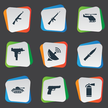 smother: Set Of 9 Simple Army Icons. Can Be Found Such Elements As Pistol, Helicopter, Kalashnikov And Other. Illustration