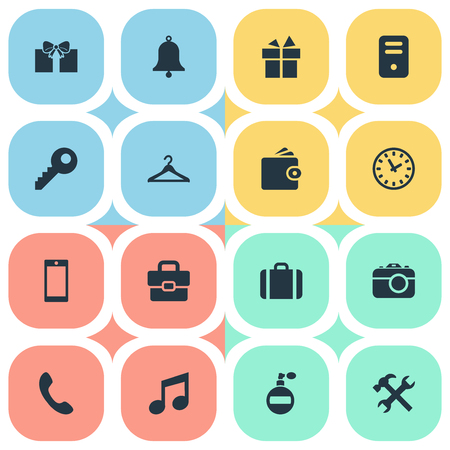Set Of 16 Simple Accessories Icons. Can Be Found Such Elements As Digital Camera, Repair, Fragrance And Other.