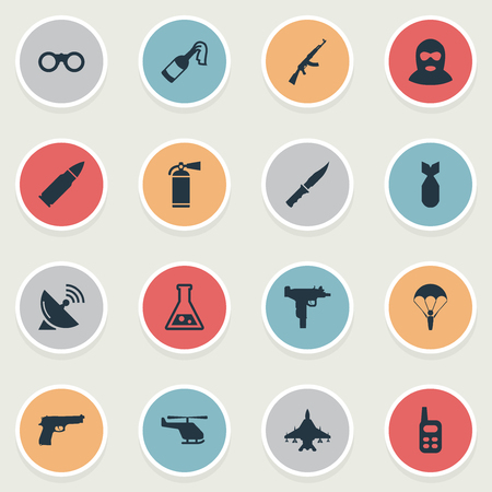 molotov: Set Of 16 Simple Battle Icons. Can Be Found Such Elements As Molotov, Kalashnikov, Terrorist And Other. Illustration