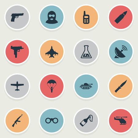 parachuter: Set Of 16 Simple Terror Icons. Can Be Found Such Elements As Signal Receiver, Walkies, Air Bomber And Other.