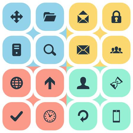 16 간단한 앱 아이콘의 집합입니다. 메시지, 상향 방향, 화살표 및 기타 등의 요소를 찾을 수 있습니다.