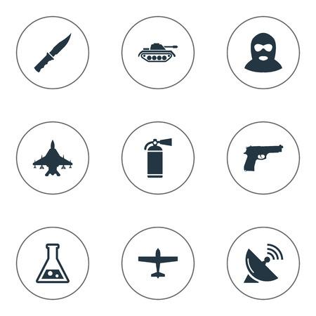9 シンプルな戦闘アイコンのセットです。冷兵器、空気爆撃機、重い武器、その他などの要素を見つけることができます。