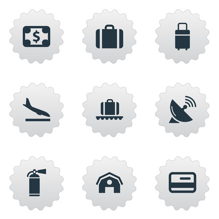 Set Of 9 Simple Plane Icons. Can Be Found Such Elements As Currency, Protection Tool, Alighting Plane And Other.